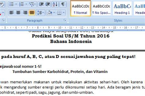 Soal Dan Prediksi Ujian Sekolah Sd Edisi 10 Tahun 2017 Tim Studi Gu soal prediksi bahasa indonesia us sd mi 2016 informasi pendidikan