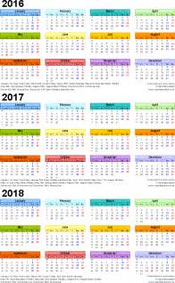 Kalender 2018 Excel Englisch Three Year Calendars For 2016 2017 2018 Uk For Word