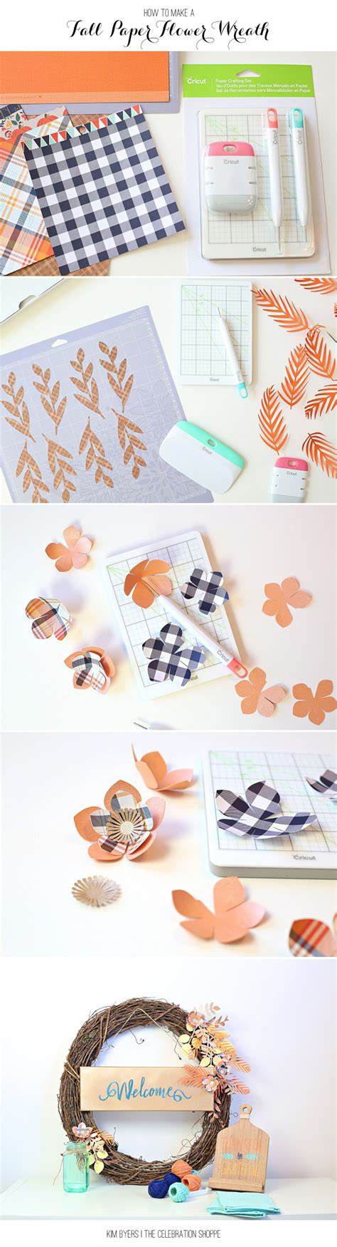 Make A Paper Wreath - fall wreath with diy paper flowers tutorial the