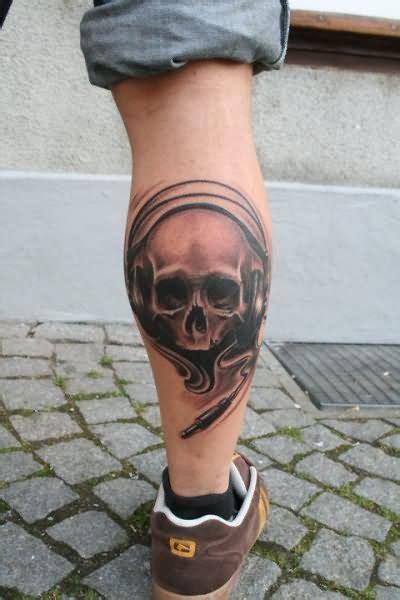 male leg tattoo designs grey ink skull on leg calf by schrail edmund