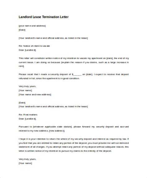 Exle Of Termination Lease Letter lease termination letter by landlord 28 images lease