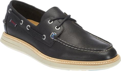 new mens sebago black leather smyth two eye boat shoes