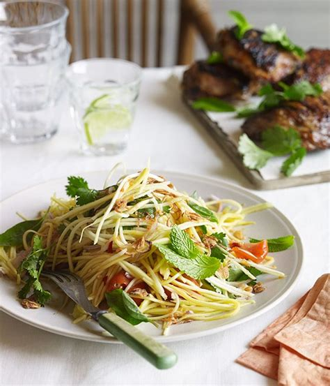 Barbecued lemongrass chicken with green mango salad recipe   Chicken recipe :: Gourmet Traveller