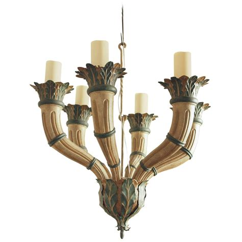 Painted Tin Chandelier At 1stdibs Tin Chandeliers