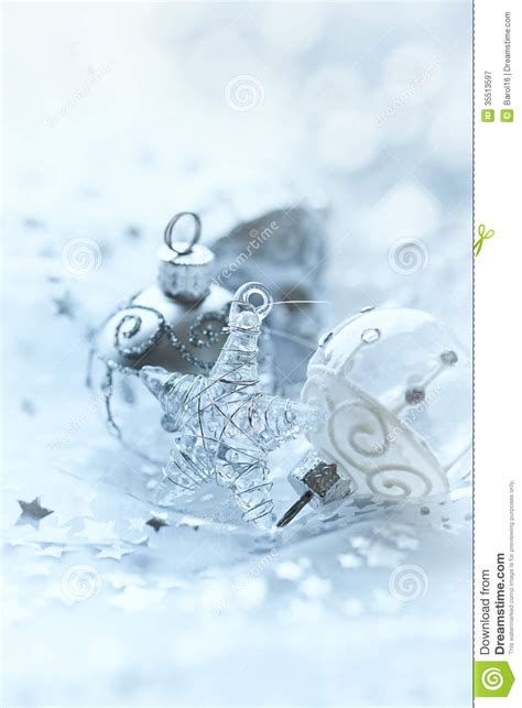 silver and white christmas ornaments royalty free stock