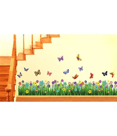 In The Garden Wall Stickers Stickerskart Green And Purple Vinyl Border Design Walking
