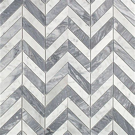 Marble Mosaic Tile by Splashback Tile Dart White Carrara And Bardiglio Marble