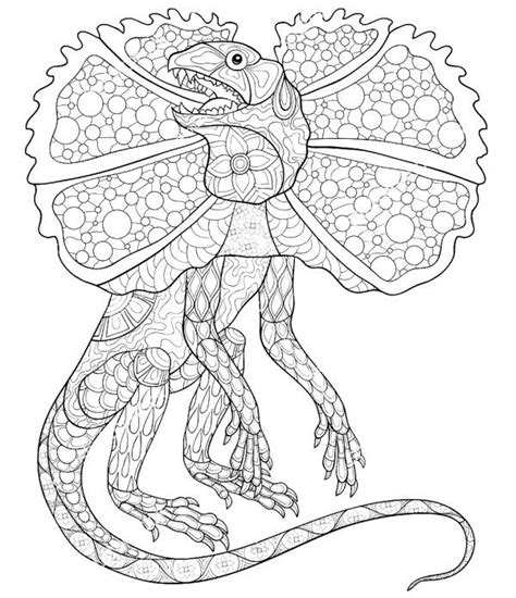 frilled neck lizard reptiles coloring books adult