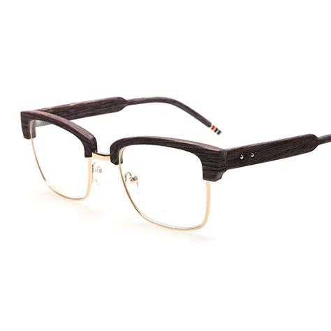 imitation wood glasses half frame clear lens reading