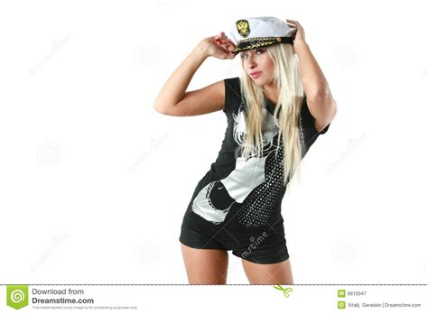 captain beautiful beautiful woman in a captain s hat royalty free stock