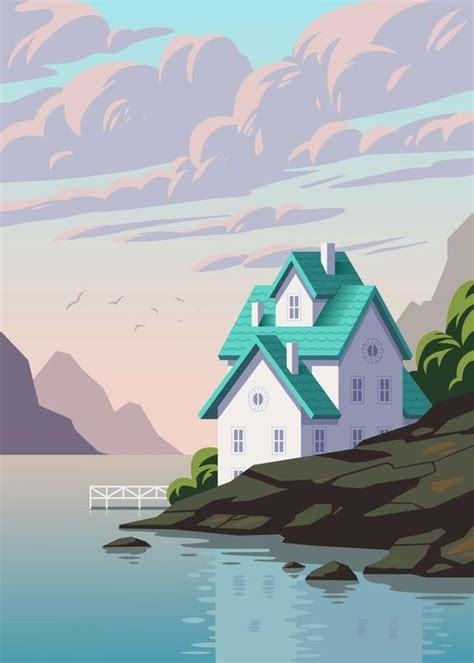 draw house illustrator lake house by andrey sharonov environment background