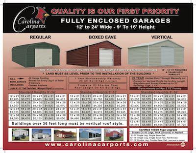 Carolina Carport Prices by Pricing Brochures Carolina Carports Inc