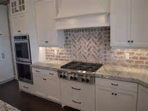 brick backsplash the kitchen presented with soft colors combination
