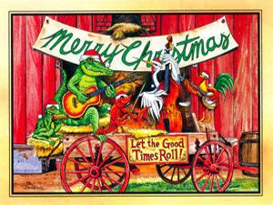 papa noel cajun christmas christmas cards flat town