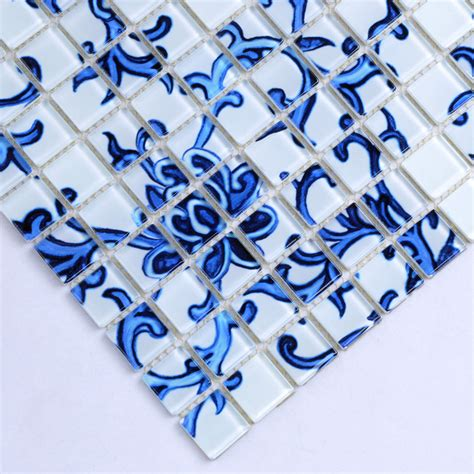 blue and white tile backsplash crystal glass tile blue white puzzle mosaic tile crackle
