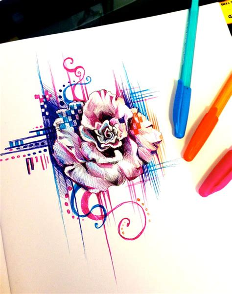 mandala 2 watercolor and pen tattoo style speed drawing rose pen design by lucky978 on deviantart