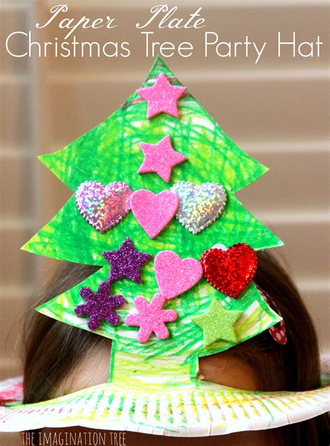 design own xmas hat paper plate tree hat craft