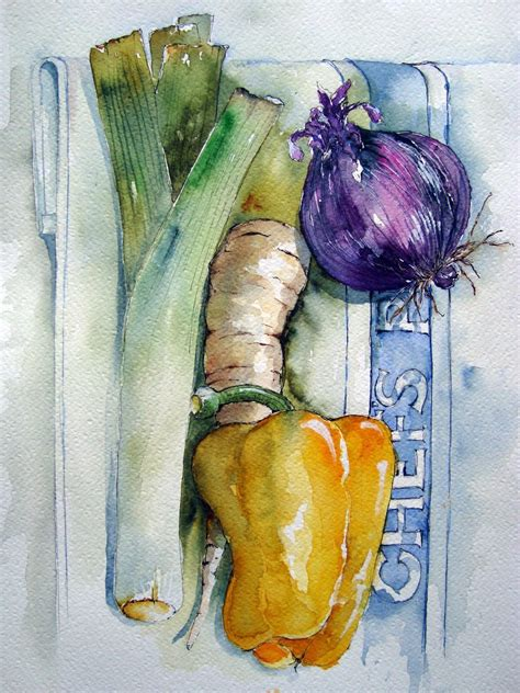 libro watercolour fruit vegetable watercolours vegetables close attention to details still life watercolor