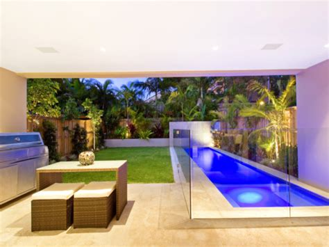 swim spa pool design using tiles with bbq area outdoor