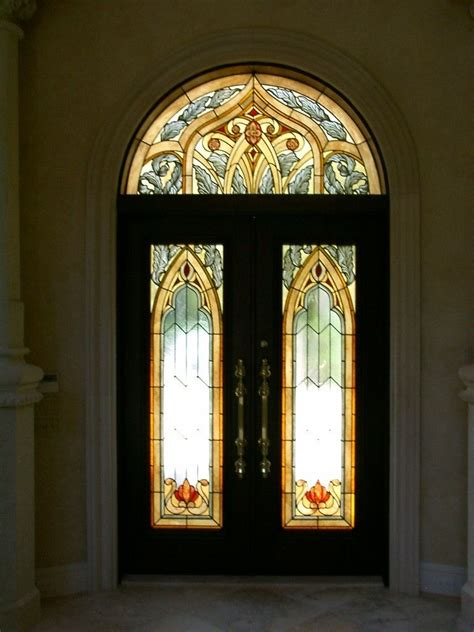 Stained Glass Entry Doors Handmade Stained Glass Entry Doors And Transom In A Moorish Style For This Custom Home In A