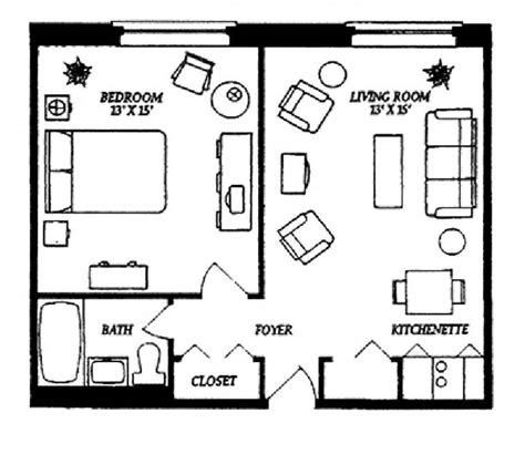 One Bedroom Plans Designs Small Studio Apartment Floor Plans Our One Bedroom Apartments Includes A Kitchenette A Closet