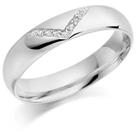 platinum gents 5mm wedding ring with v shape