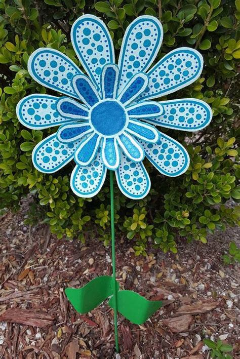 Metal Flower Garden Stakes Blue Metal Flower Garden Stake Garden Yard Gift For