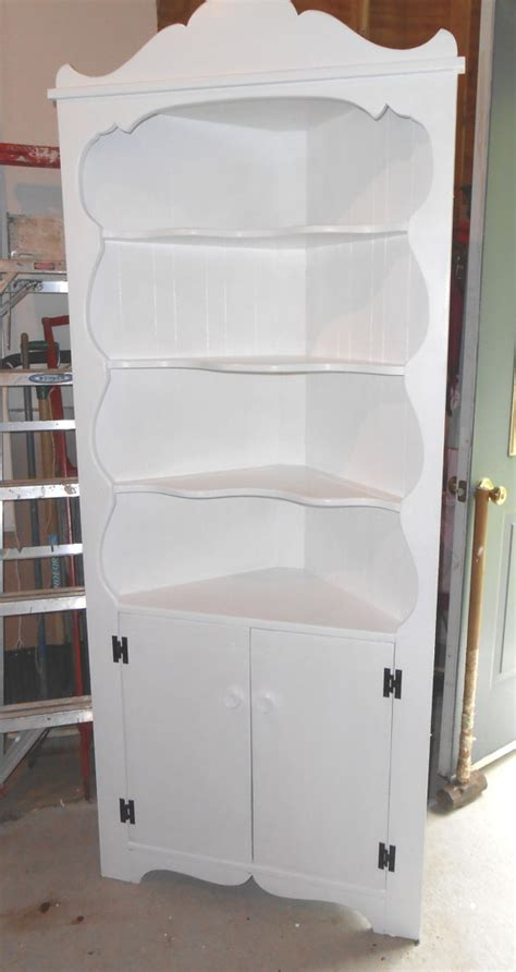 tall white corner display cabinet tall white wood corner cupboard 4 display shelves w cabinet