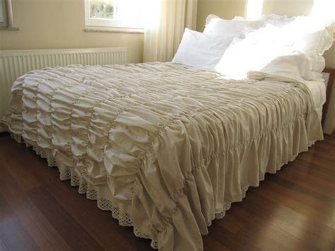 waterfall bedding ruched bedding bedspread waterfall ruffle oatmeal cotton