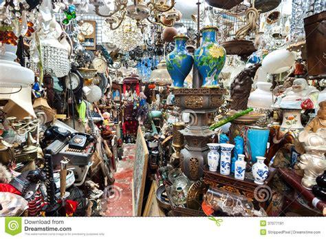 cluttered junk shop at upper lascar row antique market hong kong stock image image of market