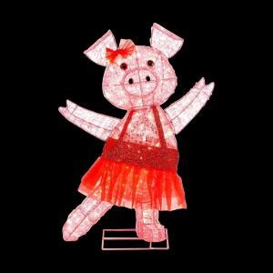 pink flying pig outside christmas decoration home accents 32 in pre lit acrylic pink pig ty048 1411 the home depot