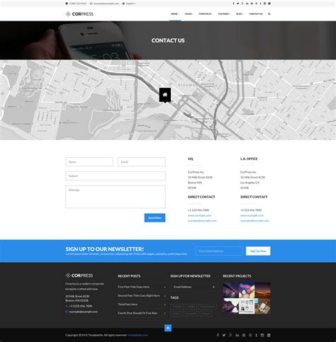 themeforest contact corpress business and infographics template by createit