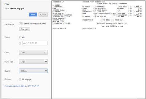 Printer Rekening Listrik cara cetak struk pulsa listrik pln prabayar token pln