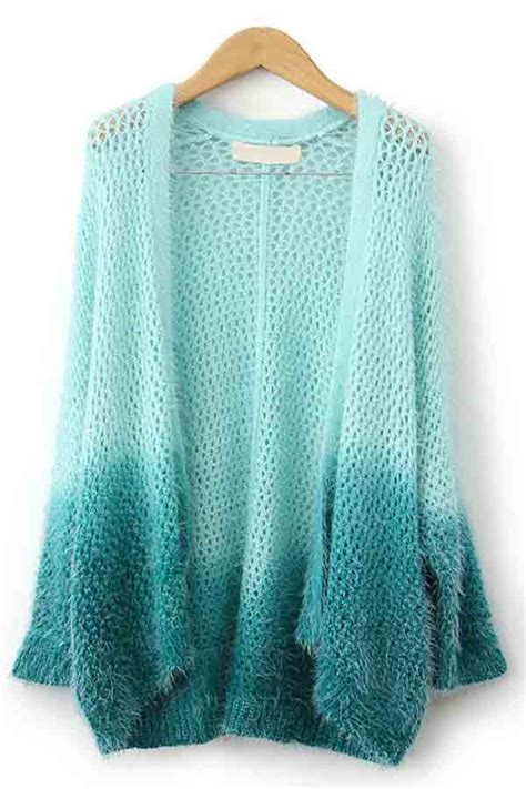 light green hollow  long sleeve gradient cardigan