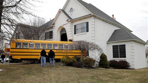 school bus house pennsylvania school bus plows into house abc news