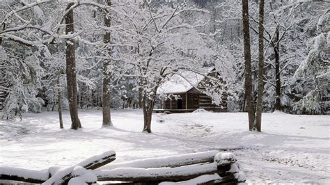 Snowy Cabin In The Woods by Tennessee Mountains Winter Wallpaper
