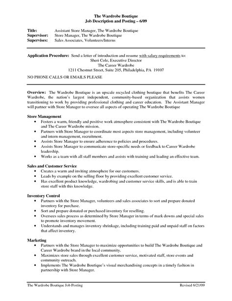 assistant resume objective sles retail store assistant manager resume resume ideas