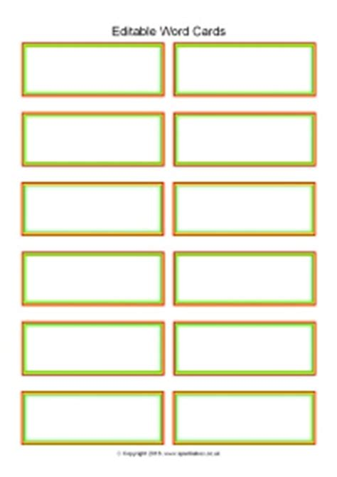 Word Wall Cards Template Blank by Editable Word Cards 12 Per Page Sb11468 Sparklebox