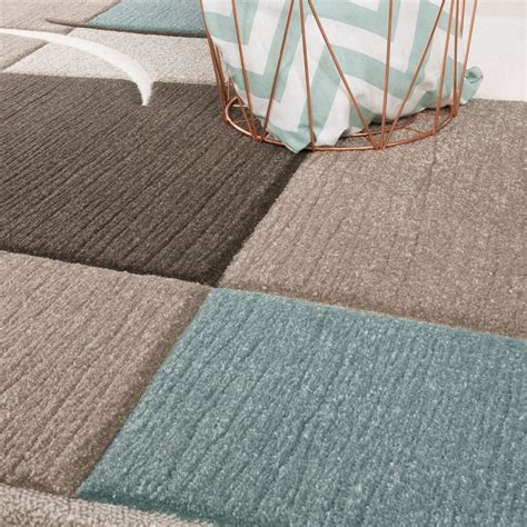 teppich pastell designer rug modern contour cut pastel colours with check