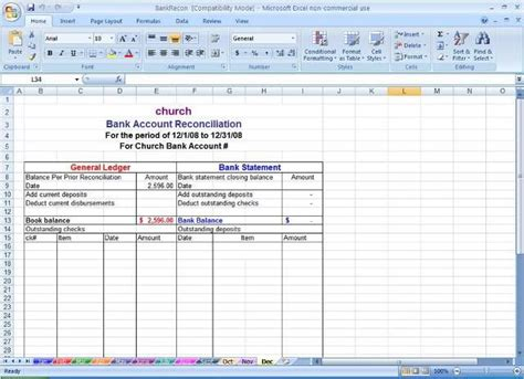 bank reconciliation template excel sle bank reconciliation statement format microsoft