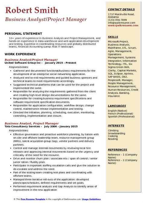 business analyst project manager resume sle business analyst project manager resume sles qwikresume