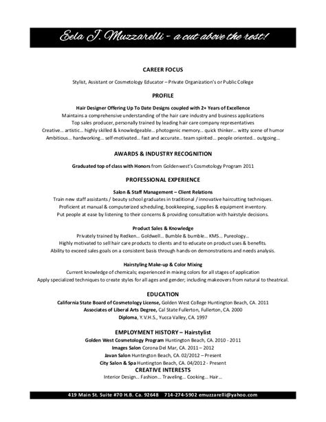 cosmetology resume exles for students cosmetology resume objectives resume sle recentresumes