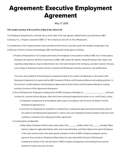 ceo contract template executive employment agreement executive protection