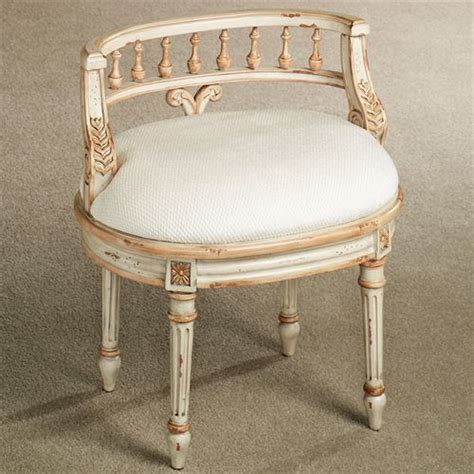 Upholstered Vanity Chairs For Bathroom Queensley Upholstered Antique Ivory Vanity Chair