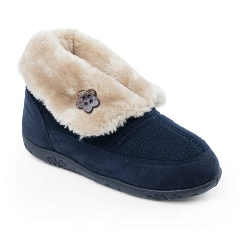 House Slippers Navy Padders Faux Fur Wide Slippers Navy