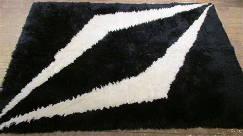 White And Black Area Rugs Modernist Black And White Rya Shag Area Rug At 1stdibs