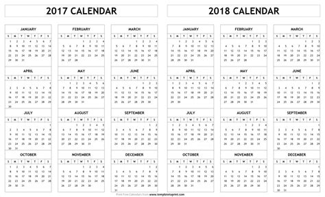 printable year calendar 2017 and 2018 printable 2017 2018 calendar template blank calendar jpeg