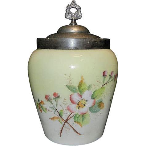 Antique Jar Ls by Vintage Custard Glass Biscuit Jar Apple Blossoms From