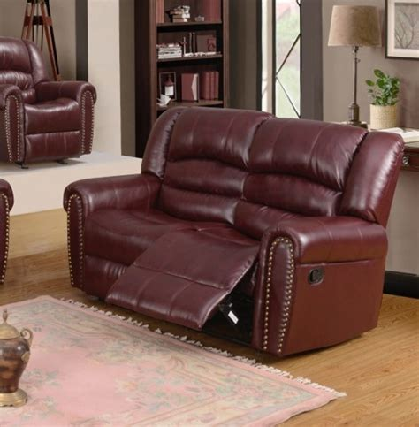 burgundy leather sofa nailhead trim 686 burgundy leather reclining loveseat with nailhead trim