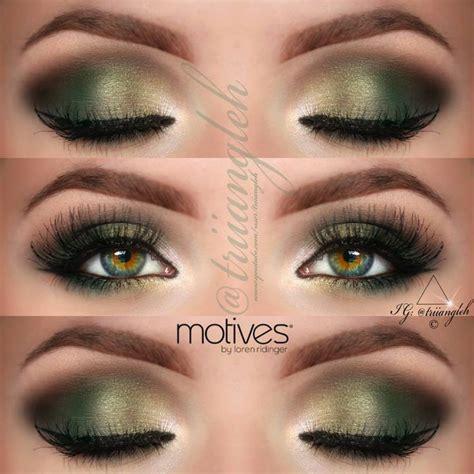 Eyeshadow E gold and green smokey eye makeup